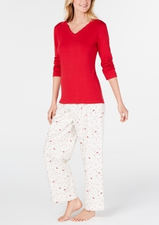 Charter Club Women's Petite Lace-Trim Top & Flannel Pajama Pants Set, Created for Macy's