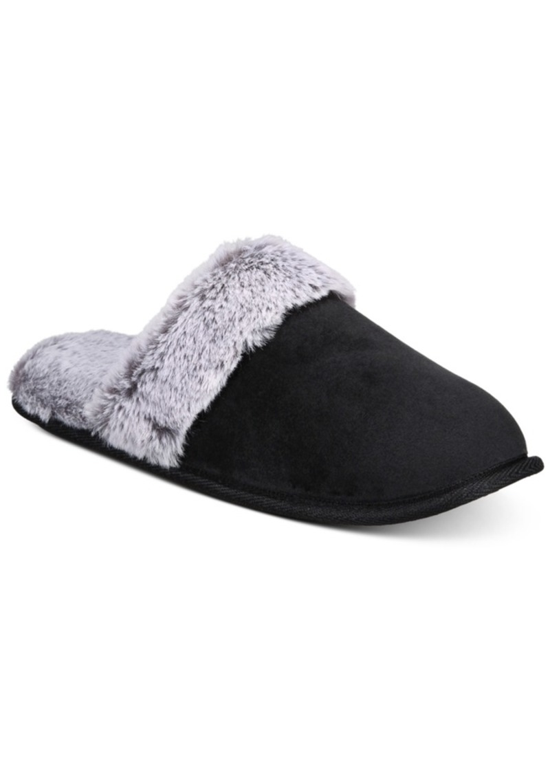 Charter Club Women's Slippers With Faux-Fur Trim, Created For Macy's