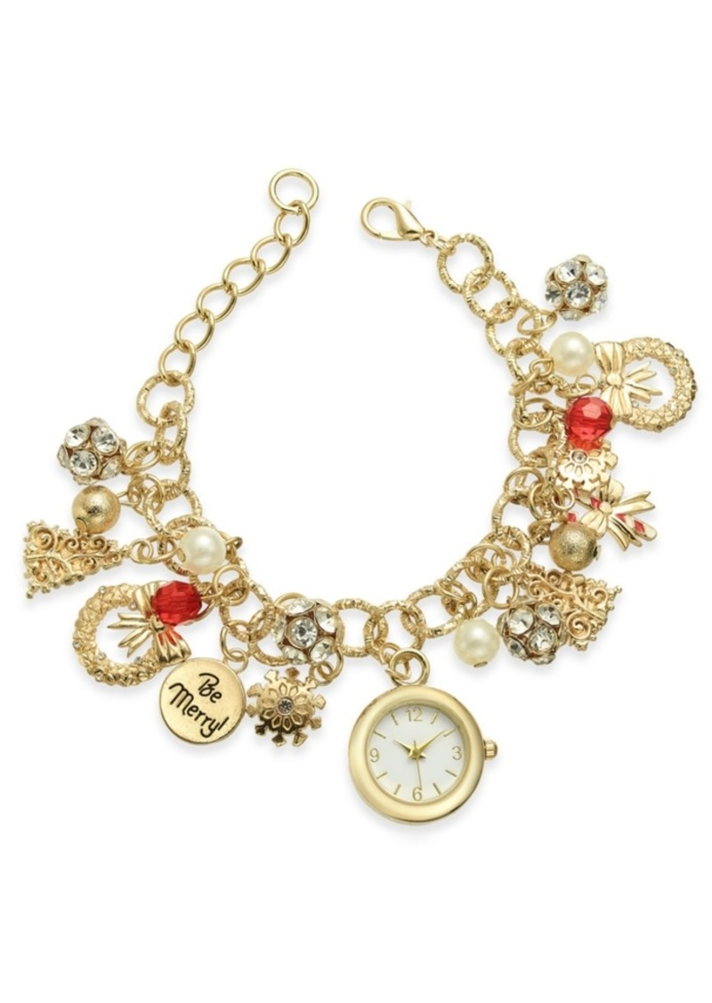 Charter Club Holiday Lane Gold-Tone Charm Bracelet Watch 25mm, Created for Macy's