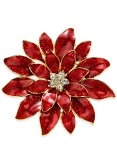 Charter Club Holiday Lane Gold-Tone Crystal & Glitter Epoxy Poinsettia Pin, Created for Macy's