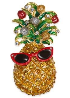 Charter Club Holiday Lane Gold-Tone Crystal Pineapple Pin, Created for Macy's