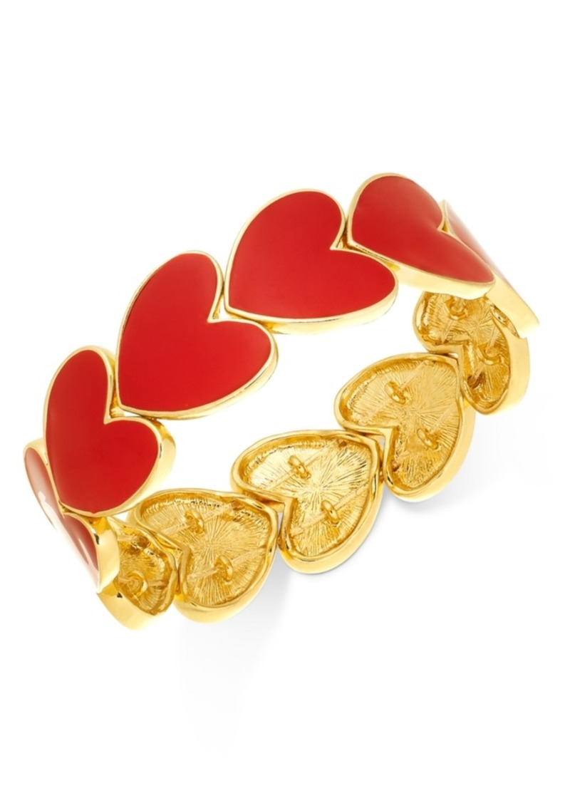 Charter Club Holiday Lane Gold-Tone Heart Stretch Bracelet, Created For Macy's