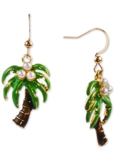 Charter Club Holiday Lane Gold-Tone Imitation Pearl Palm Tree Drop Earrings, Created for Macy's