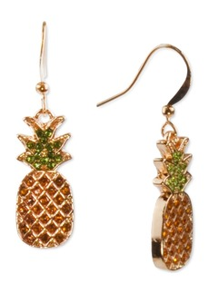 Charter Club Holiday Lane Gold-Tone Pave Pineapple Drop Earrings, Created for Macy's