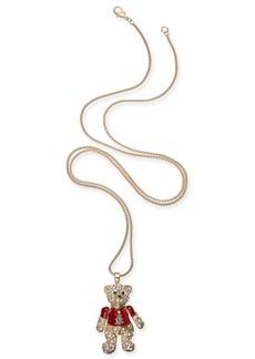 "Charter Club Holiday Lane Gold-Tone Pave Teddy Bear 36"" Pendant Necklace, Created For Macy's"