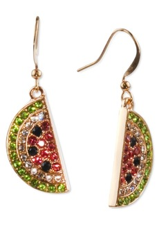 Charter Club Holiday Lane Gold-Tone Pave Watermelon Drop Earrings, Created for Macy's