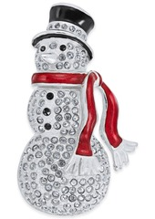 Charter Club Holiday Lane Silver-Tone Pave Snowman Pin, Created for Macy's