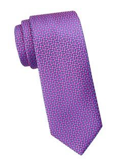Charvet Asymmetric Vine Leaf-Print Silk Tie