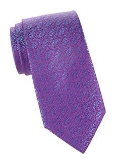 Charvet Diagonal Medallion-Print Silk Tie