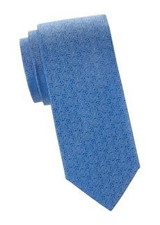 Charvet Micro-Dot Floral Silk Tie