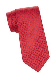 Charvet Small Grid-Print Silk Tie