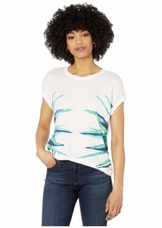 "Chaser ""Agave"" Gauzy Cotton Crew Neck Roll Sleeve Tee"