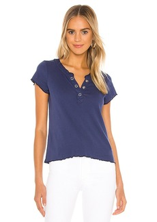 Chaser Baby Rib Short Sleeve Cropped Henley Tee