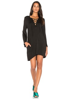 Chaser Cool Jersey Lace Up Dress in Black. - size M (also in S,XS)