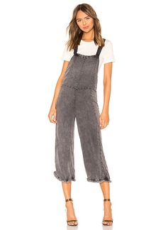 Chaser Cross Back Cropped Culotte Overalls with Frayed Edge