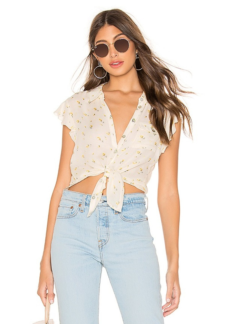 Chaser Flutter Sleeve Button Down Shirttail Blouse
