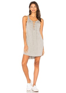 Chaser Lace Up Racer Back Dress in Gray. - size L (also in M,S,XS)