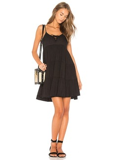 Chaser Lace Up Tiered Dress in Black. - size L (also in M,S,XS)