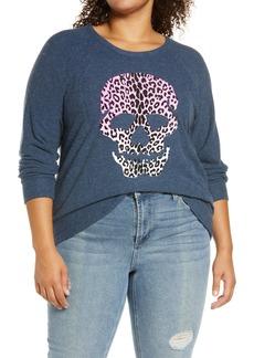 Chaser Leopard Print Skull Cozy Graphic Sweatshirt (Plus Size)