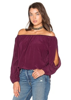 Chaser Open Sleeve Shirttail Boho Silk Top in Purple. - size M (also in S,XS)
