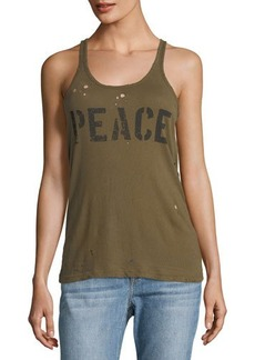 Chaser Peace Graphic Distressed Tank