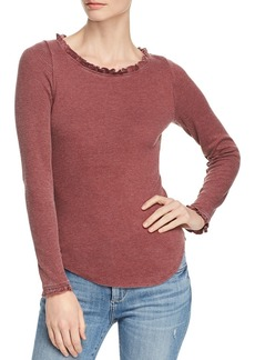 CHASER Ribbed Ruffle-Trimmed Tee