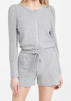 Chaser Rpet Bliss Knit Puff Sleeve Zip Up Romper