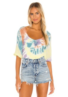 Chaser Smocked Double V Peasant Top