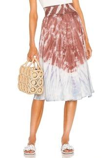 Chaser Stretch Silky Basics Rib Waist Faux Wrap Midi Skirt