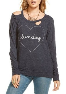 Chaser Sunday Graphic Cutout Top