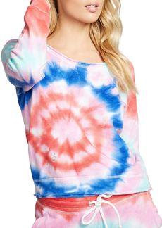CHASER Tie Dye Raglan Pullover Sweatshirt