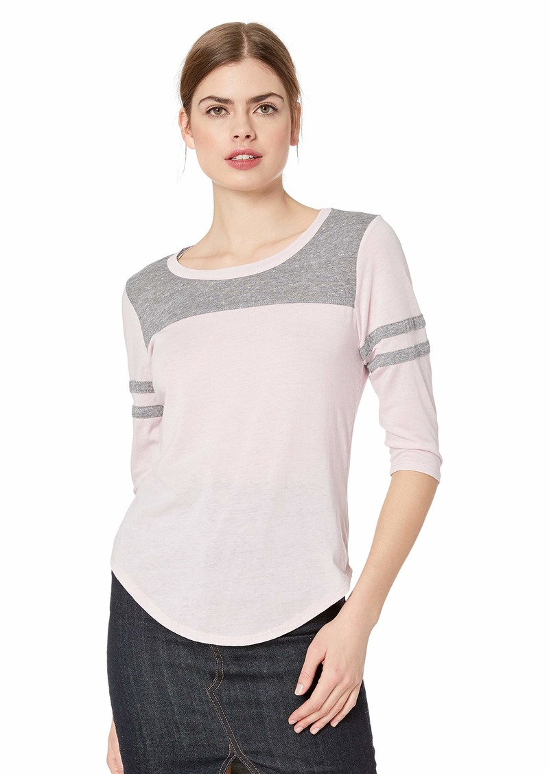 CHASER Women's Blocked Jersey 3/4 Sleeve Shirttail Football TEE W/STRAPPIN  M