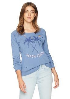 CHASER Women's Cotton Fleece Long Sleeve Raglan Pullover  M