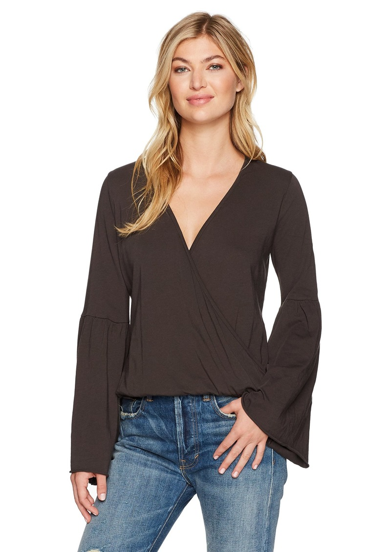 CHASER Women's Cotton Jersey Flared Sleeve Surplice Tee  XS