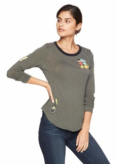 CHASER Women's Gauzy Cotton Jersey L/S Crew Neck Shirttail TEE  M