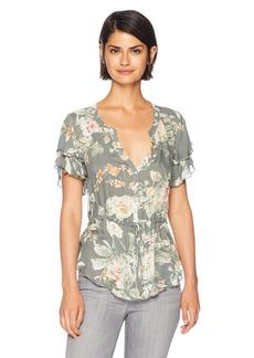 CHASER Women's Heirloom Gauze Flouncy S/S Button UP Peplum TOP  L