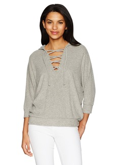 Chaser Women's Love Cloth Lace up Oversized Dolman Hoodie  S