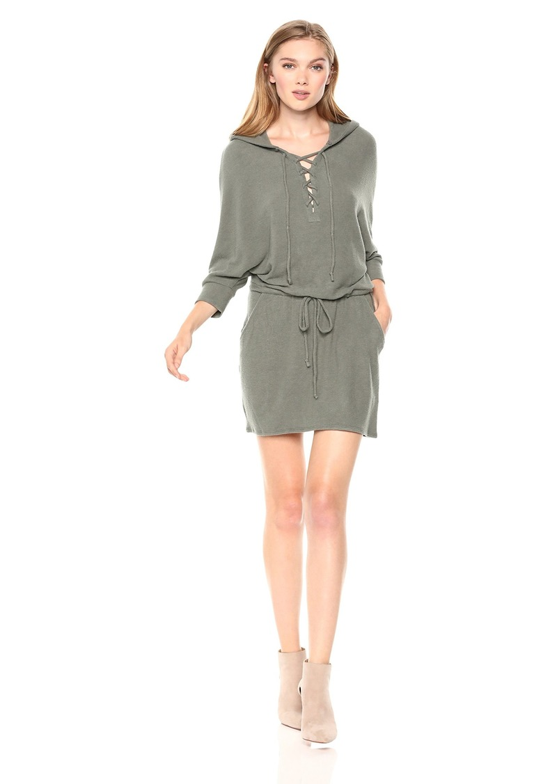 CHASER Women's Love Knit LACE UP Front Hooded Dolman Dress  L