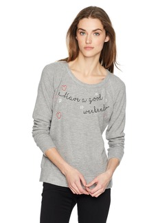CHASER Women's Love Knit Long Sleeve Raglan Pullover  SM