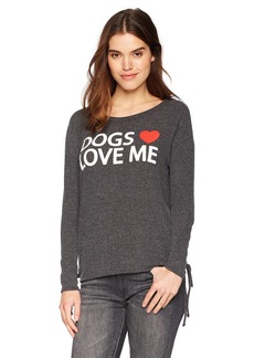 CHASER Women s Love Knit Sleepwear Side Lace up L S Dolman Boatneck Pullove  M f48659c0b