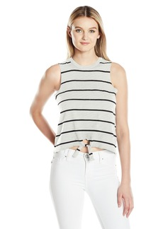 CHASER Women's Striped Gauze Jersey Tie Front Muscle Tank  M
