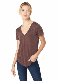 CHASER Women's Triblend Jersey Vent Back V Neck Rolled Sleeve TEE  L