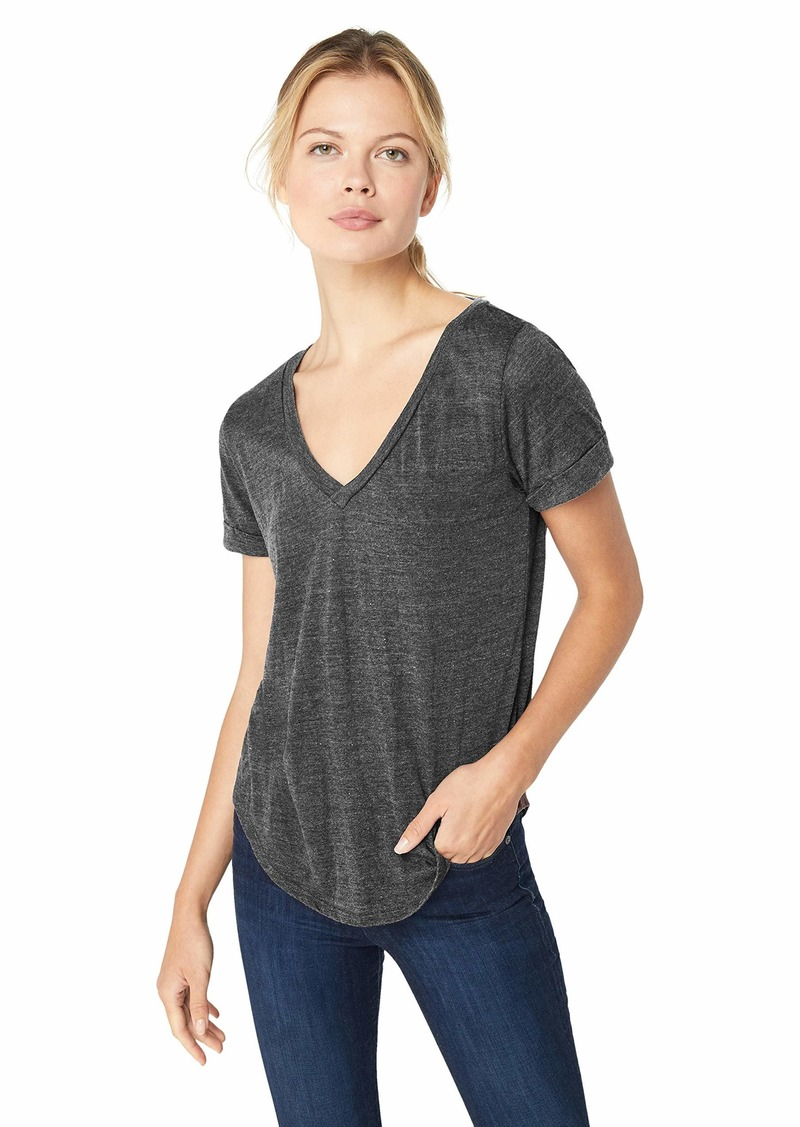 CHASER Women's Triblend Jersey Vent Back V Neck Rolled Sleeve TEE  M