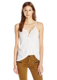 CHASER Women's Vintage Jersey Flounce Henley Cami