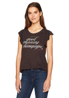 CHASER Women's Vintage Jersey Flutter Sleeve Shirttail TEE  M