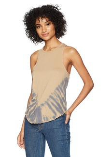CHASER Women's Vintage Jersey Knotted Drape Back Shirttail Tank tie dye L