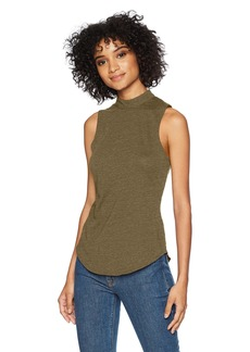 CHASER Women's Vintage Jersey V-Back Mock Turtle Neck Shirttail Tank  L