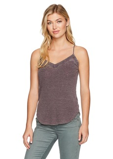CHASER Women's Vintage Rib Double V-Neck Shirttail Cami BlackBerry S