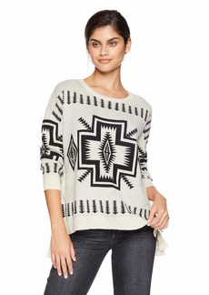 CHASER Women's Vintage Trading Blanket Sweater L/S LACE-UP Sides Dolman PUL  L