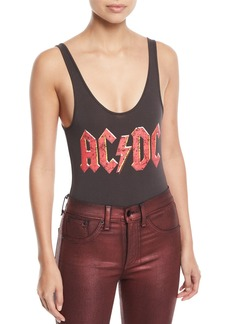 Chaser Classic AC/DC Band Logo Graphic Bodysuit